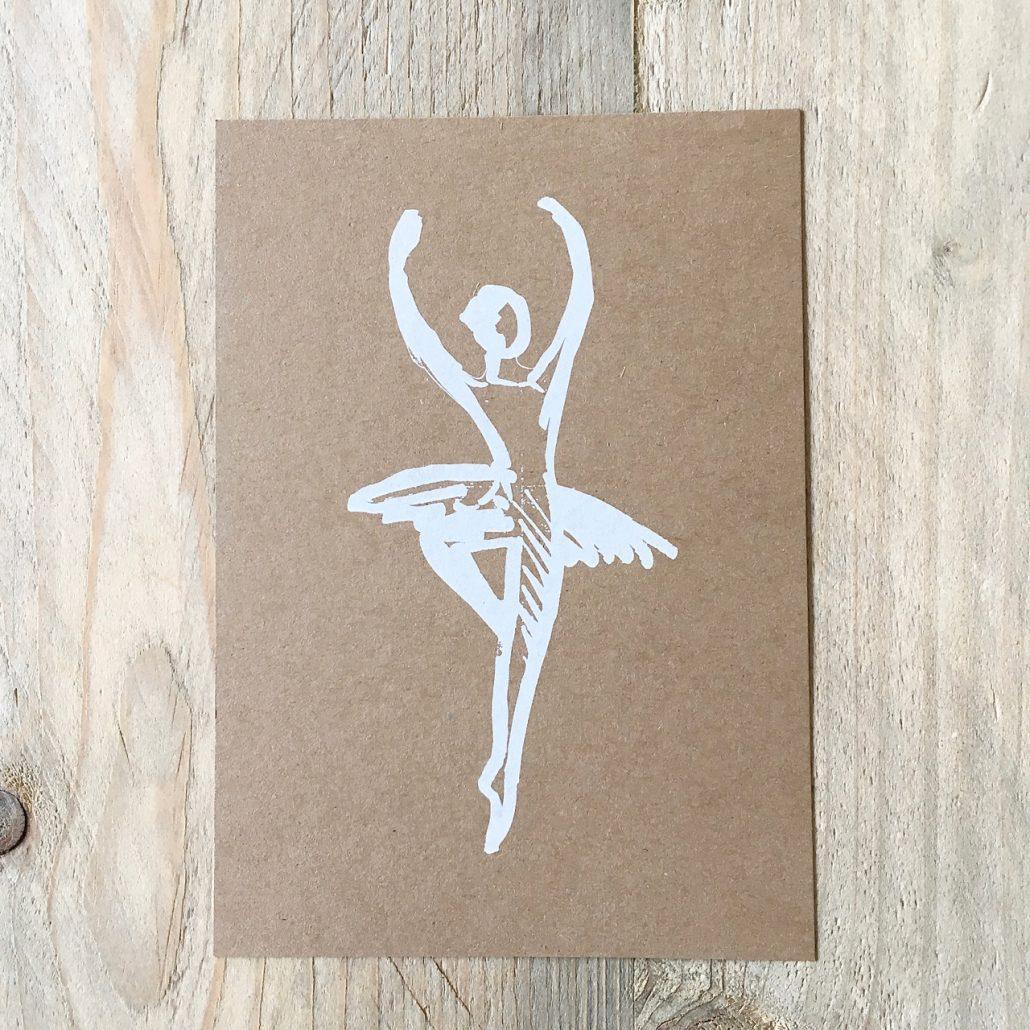 Illustration einer Tänzerin als Postkarte