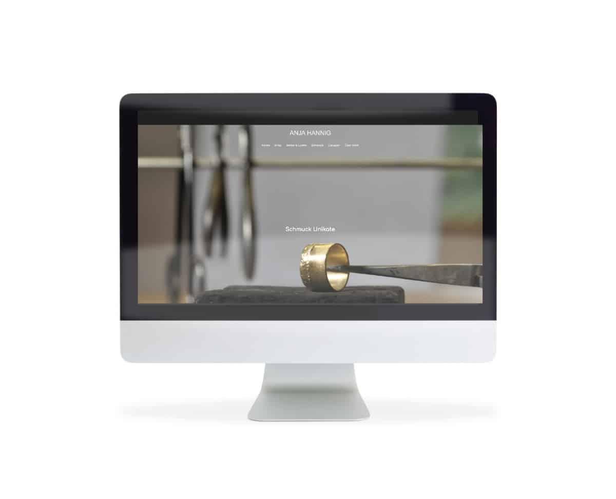 Webdesign für Anja Hannig Schmuck Unikate