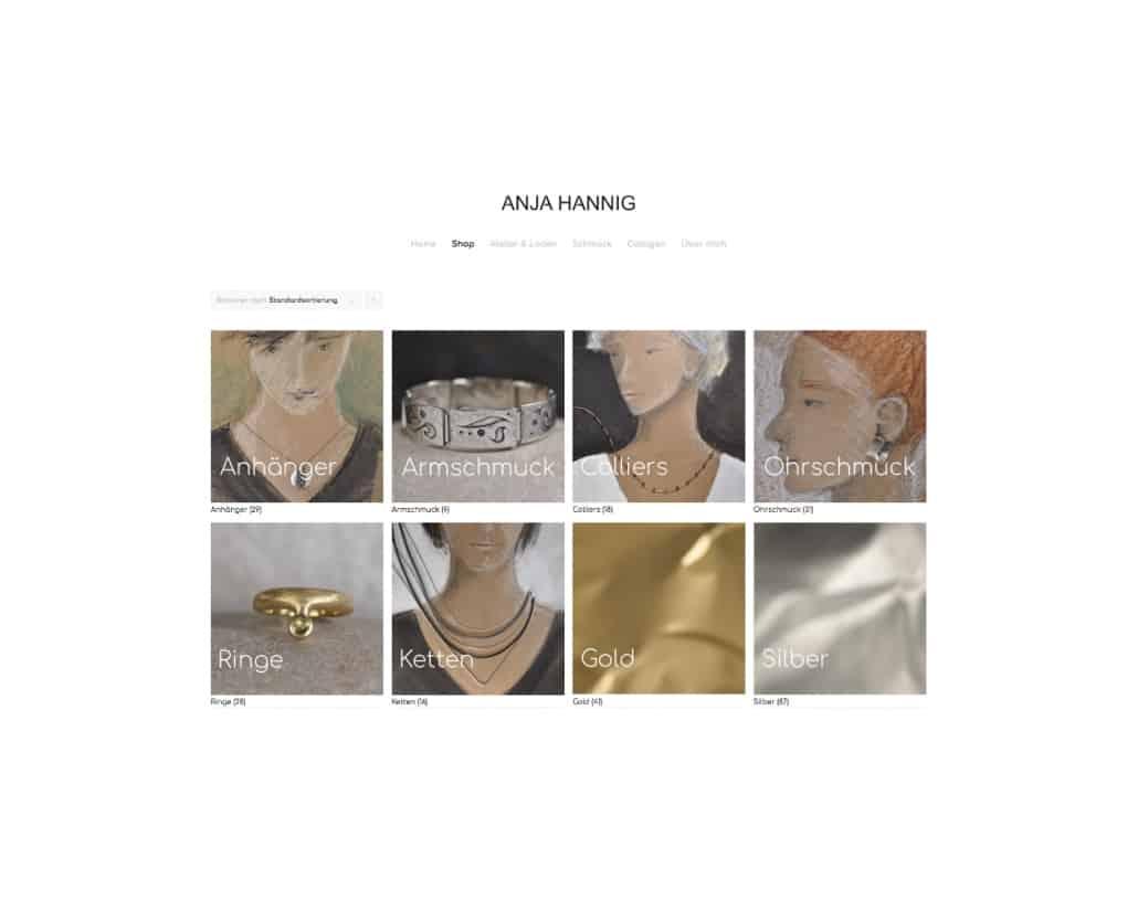 Webdesign für Anja Hannig Schmuck